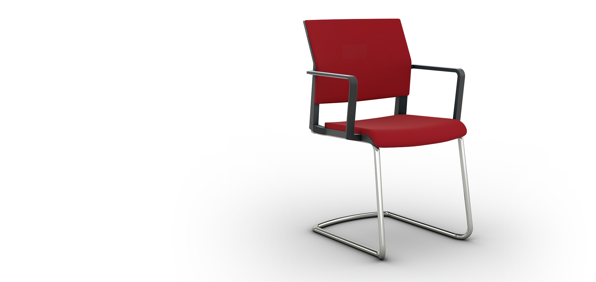 Универсальное немецкое кресло Impulse со стильными подлокотниками для посетителей и конференций исполнение ткань, опора хром, пружинит.
