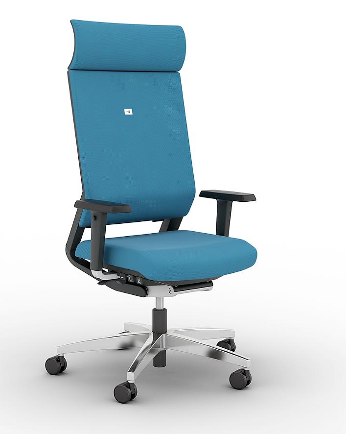 Немецкое кресло для офиса Impulse с подголовником исполнение ткань цвет голубой, подлокотники 4D - регулируются по высоте, ширине, глубине, углу, крестовина полированный алюминий, автоматическая настройка на вес сидящего, Это кресло обладатель серебряной премии NeoCon 2013