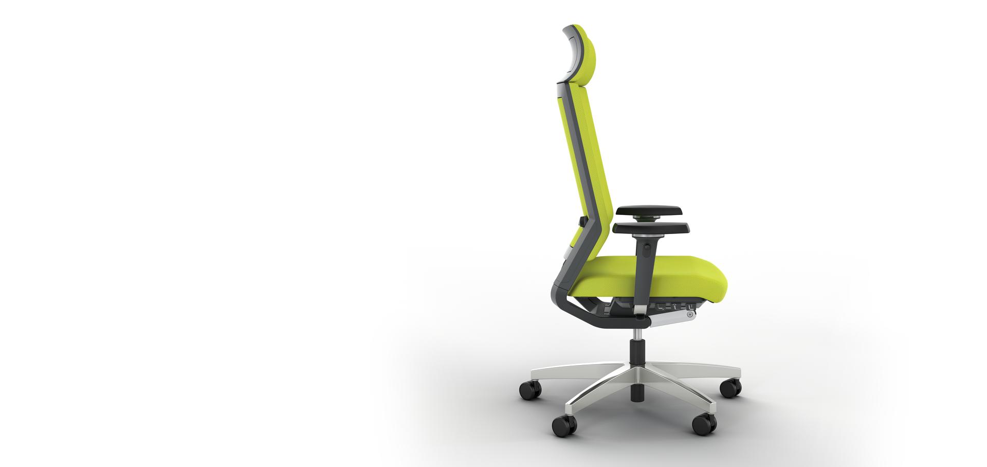 Немецкое кресло для руководителя Impulse с подголовником исполнение ткань цвет желтый или по выбору клиента, подлокотники 4D - регулируются по высоте, ширине, глубине, углу, крестовина полированный алюминий, автоматическая настройка на вес сидящего, Это кресло обладатель серебряной премии NeoCon 2013