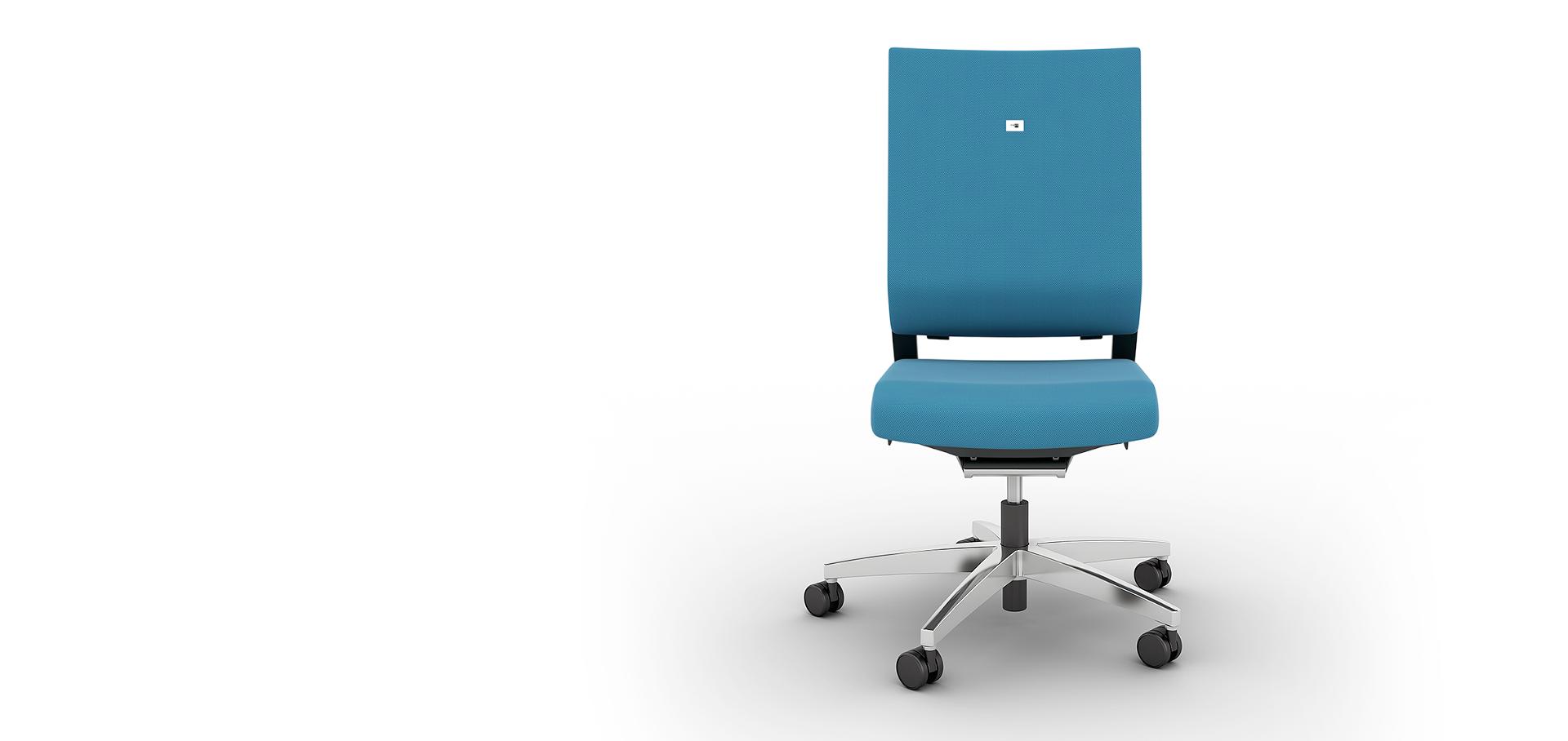 Немецкое кресло для офиса Impulse без подголовника, исполнение ткань цвет голубой или по выбору клиента, крестовина полированный алюминий, автоматическая настройка на вес сидящего